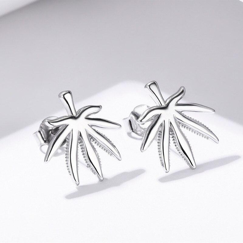SODROV Heißer 925 Sterling Silber Maple Leaf Stud Ohrring für Frauen Feine Party Schmuck E049