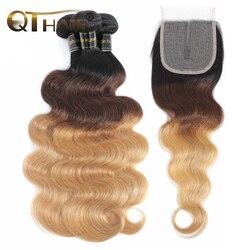 Кварты волос бразильские волосы, волнистые пряди с эффектом деграде (переход от темного к тела человеческие волосы 3 пряди с 4x4 застежка 1B/4/27 ...