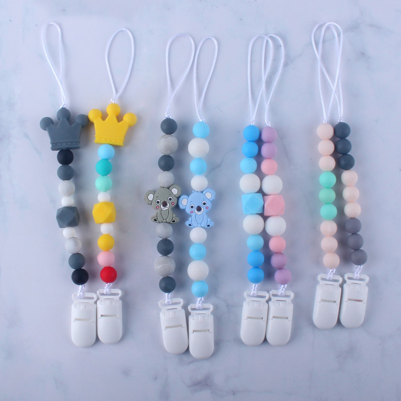 2Pcs/Lot Baby Pacifier Clips Chain Best Gift For Newborn Infant Toddler Silicone Beads Feeding Nipple Holder