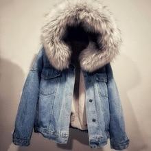 Mulheres jean Jaqueta Jeans jaqueta de Inverno de Espessura Gola de Pele Do Falso do Velo Com Capuz Denim Casaco Feminino Denim Quente Outwea