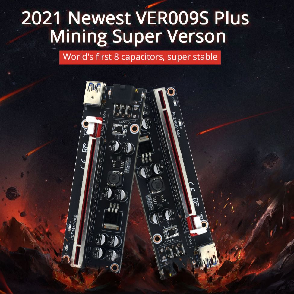 1-10 шт. TISHRIC новейший PCIE Riser 009s Plus Майнер супер версия PCIE x16 PCI Экспресс расширения Райзер карта для майнинга видеокарта