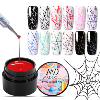 1 Box MAD DOLL  Spider UV Gel Polish Elastic Drawing Gel Purple Yellow White Mixed Colors Soak Off Nail Art Gel Varnish