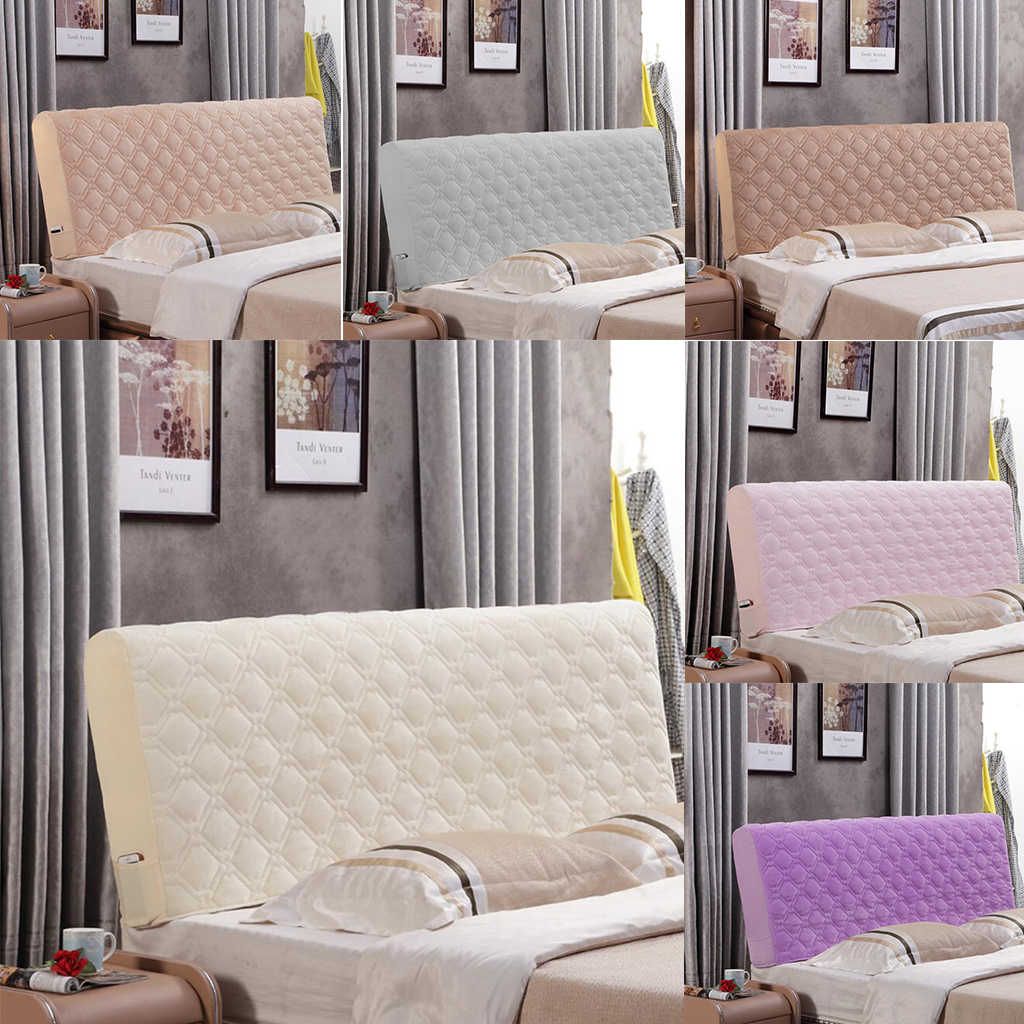 Quilted Plush Bed Headboard Slipcover Protector Stretch Bed Head Covers Dustproo