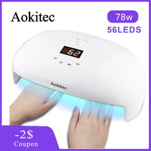 Aokitec UV Lamp for Nail 78W Two Hands Led Gel Nails Infrared Sensor 4 Timer Dryer 56 Beads LCD Manicure