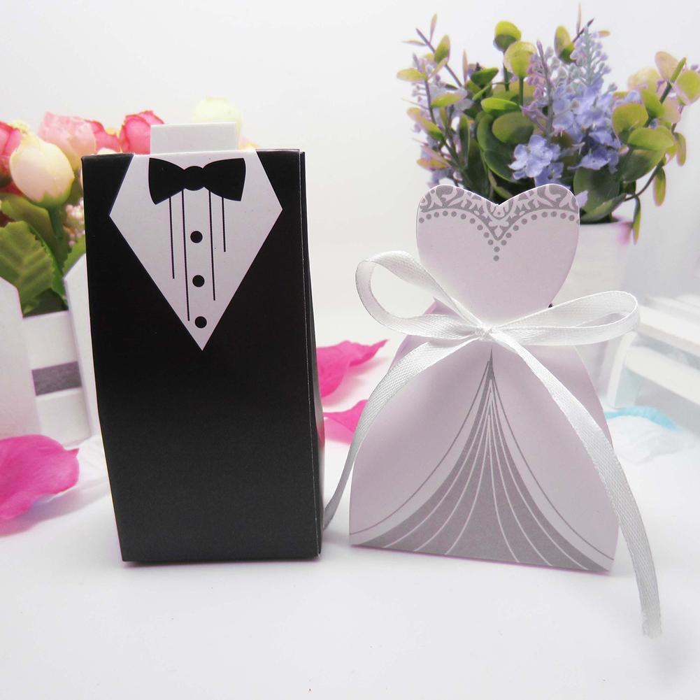 100Pcs Bride Dress Groom Suit Candy Boxes Gift Case Ribbon Gifts Favor Box Wedding Bonbonniere DIY Event Party Supplies