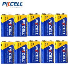10 sztuk PKCELL 9 v 6F22 Carbon Zinc superciężki Duty baterie termometr bateria 6F22 MN1604 240MIN PP3 9 v czas trwania baterii