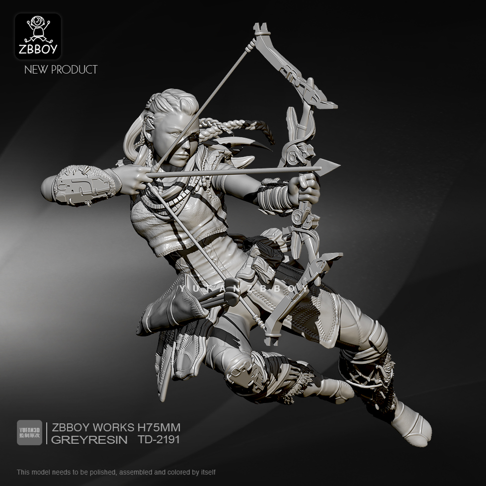 75mm Resin Figure Kits Future Female Shooter Resin Soldier Self-assembled TD-2191