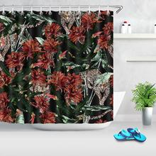 Tropical Leaves Flower Leopard Shower Curtains Bathroom Curtain Waterproof Mildewproof Decor Plant Animal Printed Shower Curtain unique mandala mildewproof shower curtain