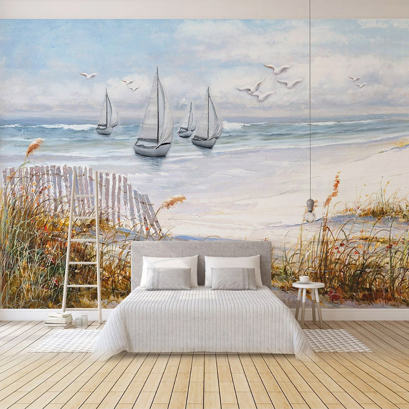 Custom Mural Hand Painted Sailboat Seagull Sea Landscape Oil Painting 3D Living Room Sofa TV Background Wall Murals Wallpaper
