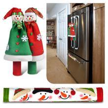 Милый Санта Клаус статические дверные ручки крышки для кухни Холодильник микроволновая печь протектор дверной ручки рождественские украшения