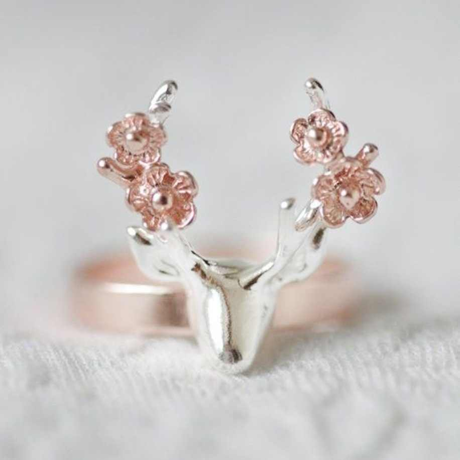 Women Double Colors Sika Deer Ring Elk Finger Ring Fashion Jewelry Christmas Gift