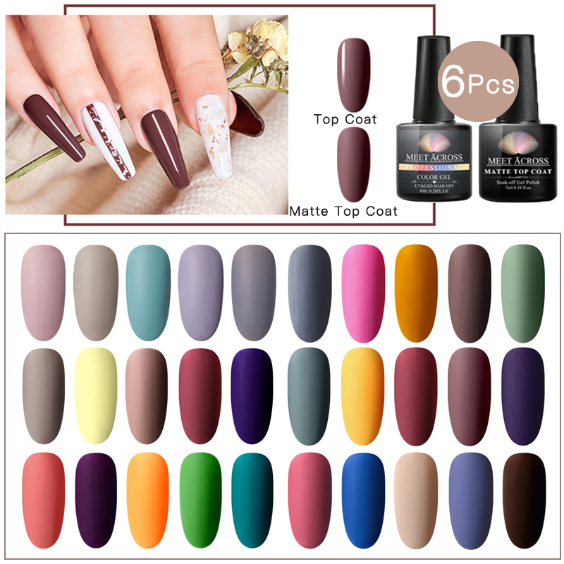 MEET ACROSS 6pcs Gel Varnish Nail Polish Set Hybrid All For Manicure 8ml Matte Top Coat Color Nail Art Lacquer Gel Nail Polish