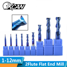 XCAN 1 шт. 1-12 мм нано синее покрытие 2 Флейта плоский концевой фреза 50 градусов Карбид Концевая фреза ЧПУ фреза