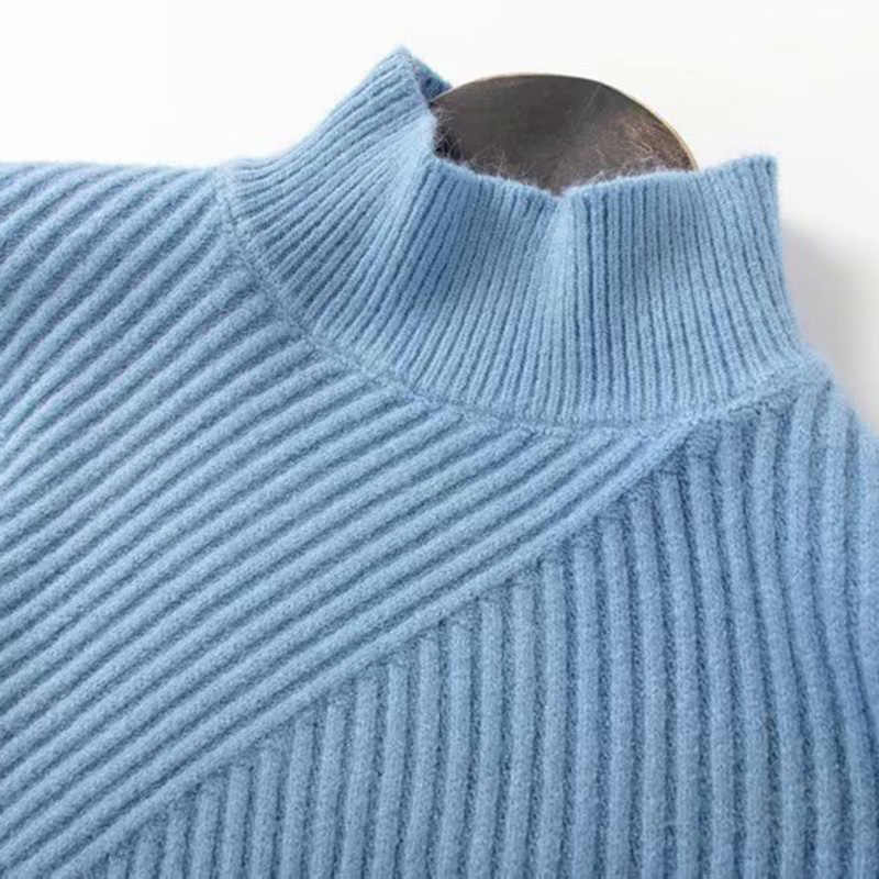 GCAROL ใหม่เกาหลีลายเส้นทแยงมุมเสื้อกันหนาวหนาฤดูหนาวถักจัมเปอร์ไหล่ยืด Streetwear ถัก Pullover