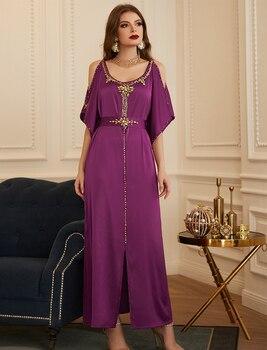 Kimono Abaya Dubai musulmanes vestido de las mujeres de Turquía Abayas Kaftan marroquí caftán marroquí el Islam Vestidos de noche Maxi Vestidos Largos