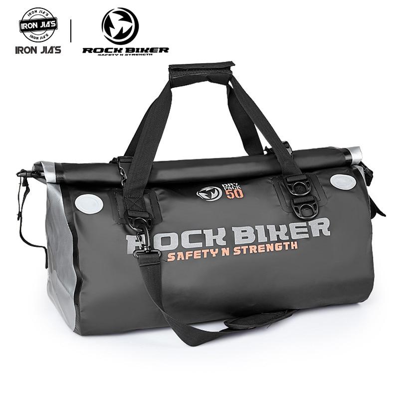 Rock motociclista motocicleta preto à prova dwaterproof água sacos de cauda volta sacos 50l saco viagem scooter esporte bagagem assento traseiro saco cavaleiro pacote