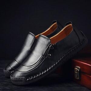 Image 5 - Valstone zapatos informales de cuero para hombre, mocasines hechos a mano, mocasín vintage sin cordones, planos de goma, antideslizantes, con apertura de cremallera, de talla grande 38 48