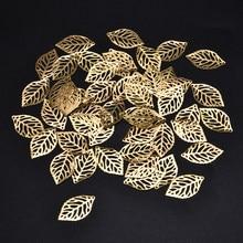 50 Uds. De hojas de filigrana Artesanía de Metal joyas, accesorios DIY, colgante, disfraz chino, corona de novia, hojas de Metal