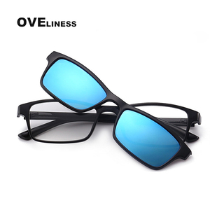 Image 1 - Gafas de sol magnéticas polarizadas con Clip para hombre y mujer, anteojos con montura óptica graduada para miopía, 2020