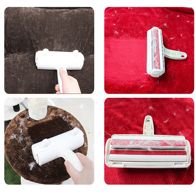 2-Way Pet Hair Remover Roller Lint Sticking Roller Removing Dog Cat Hair from Furniture Carpets Clothing One Hand Operate-3
