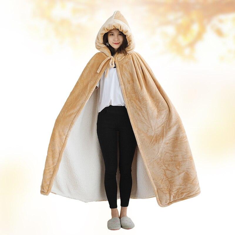 Одеяло с капюшоном, зимнее уплотненное Коралловое флисовое носимое одеяло, накидка, многофункциональная шаль, накидка, высокое качество, одеяло для ленивых - 3