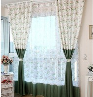 Custom curtains Cortina Curtain and tulle set Floral drapes green curtains