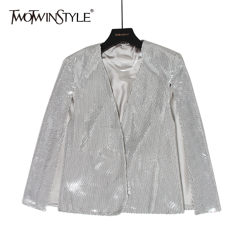 TWOTWINSTYLE Sequin Patchwork Women's Blazer V Neck Long Sleeve Solid Split Autumn Cloak Blazers Female 2020 Fashion Clothing