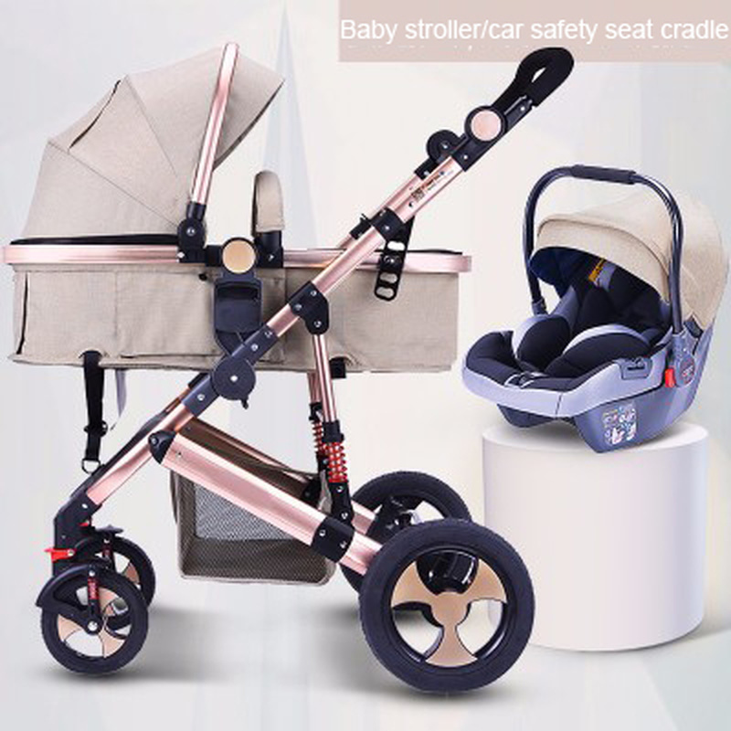 Baby Stroller 3 In 1 with Car Seat High Landscape Baby Stroller Newborn Car Seat Cradle Travel Syst