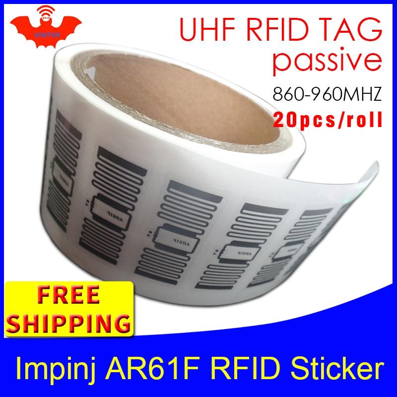 UHF Sticker RFID Tag Impinj MonzaR6 AR61F Wet Inlay 915m 860-960mhz EPC 6C 20pcs Free Shipping Self-adhesive Passive RFID Label