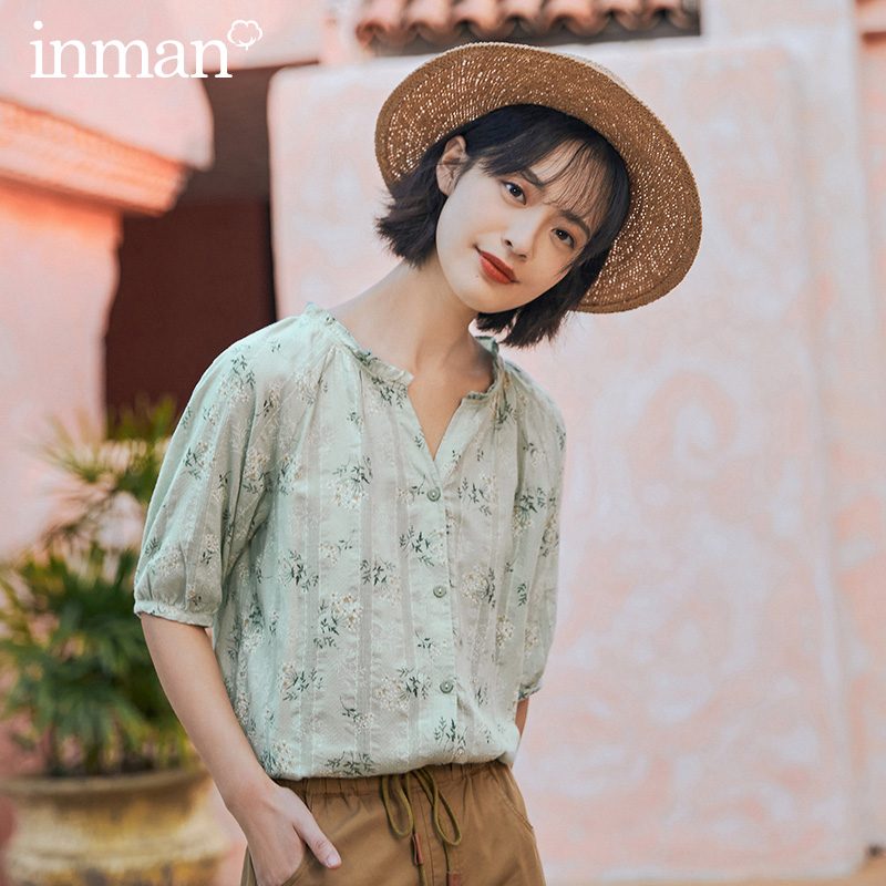 INMAN 2020 Summer New Arrival Pure Cotton V-neck Shivering Stringy Selvedge Half Sleeve Blouse