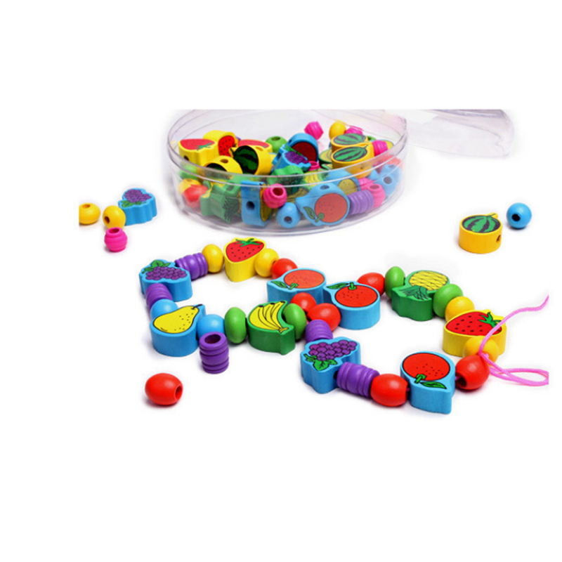 Fruit Bead Toy Baby Beaded Bracelet Sub-Wearing Rope Infant Early Childhood Cognitive Wooden Educational Toys Building Block
