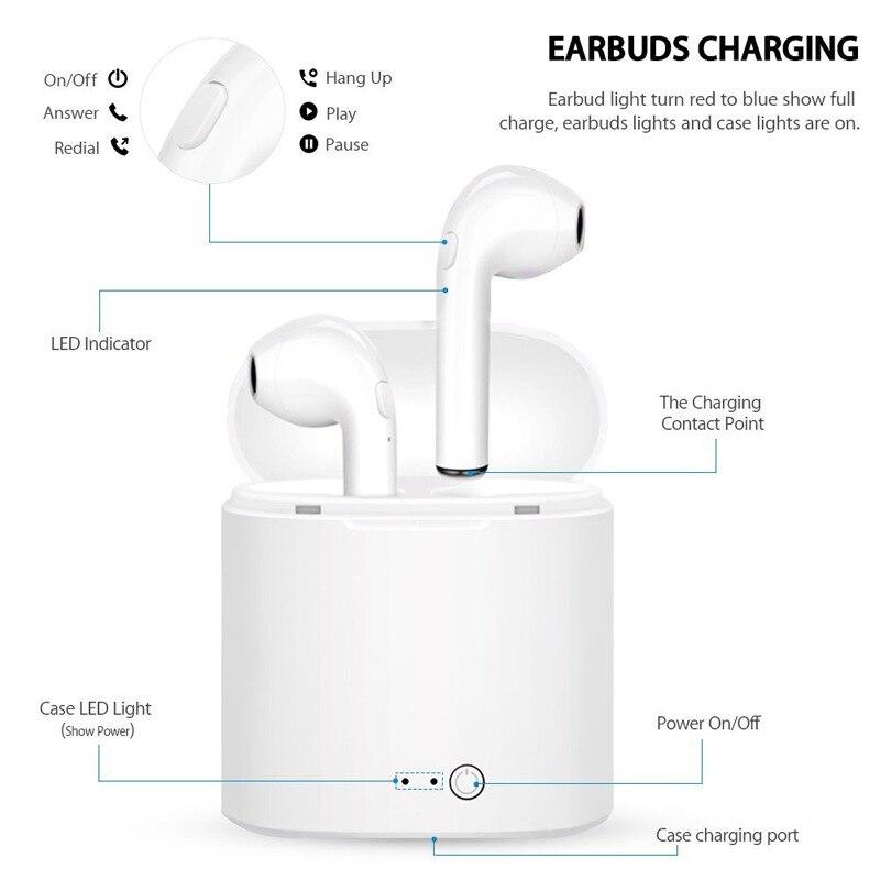 Беспроводные наушники i7s tws, Bluetooth 5,0, спортивные наушники-вкладыши, гарнитура с микрофоном и зарядным боксом, наушники для всех смартфонов 4