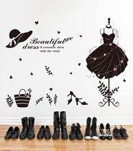 Популярная одежда магазин обуви стеклянные настенные наклейки