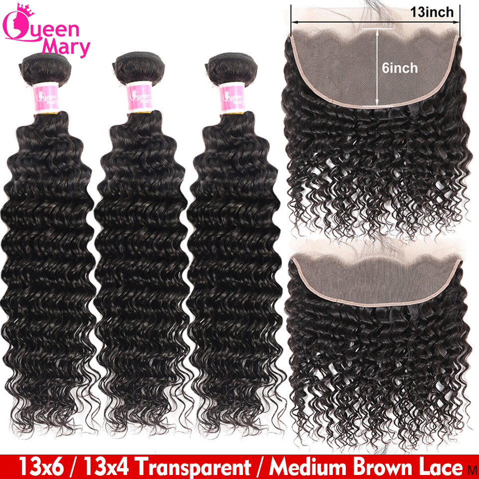 Queen Mary Hair Brazilian Deep Wave Bundles With 13x6 Frontal Closure Lace Frontal Closure With Bundles 100% Human Hair Non-Remy
