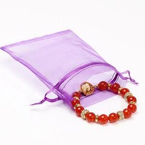 Image 2 - 50 Stks/partij 7X9Cm Wit Sieraden Verpakking Drawable Organza Tassen Wedding Gift Bags Bruiloft Benodigdheden
