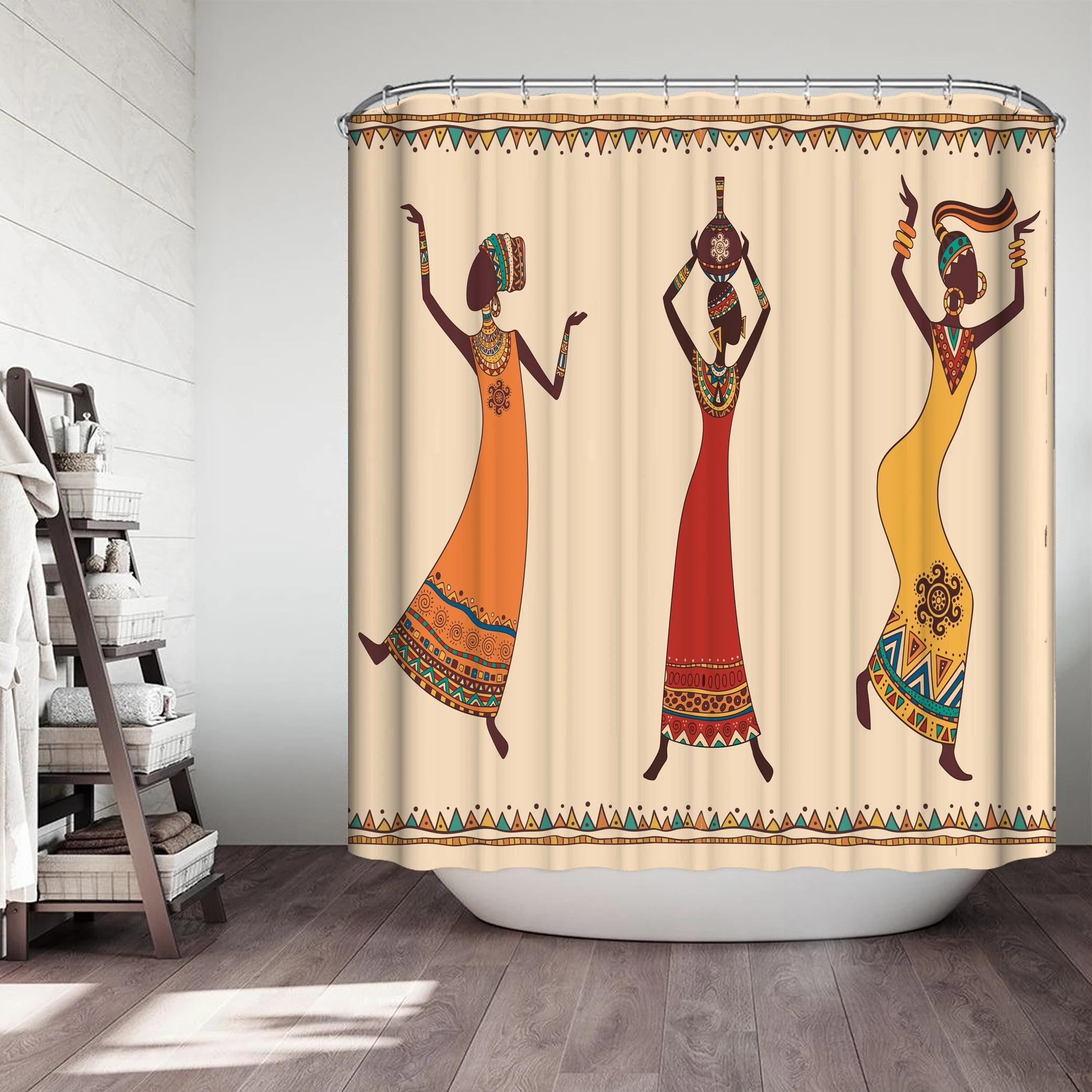 egyptien africain rideau de douche ensemble motif dans la salle de bain tissu impermeable pour salle de bain rideaux ecrans de bain decor a la maison