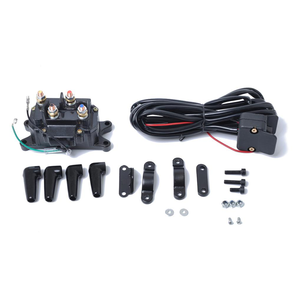 Solenoid Relay Contactor & Winch Rocker Thumb Switch COMBO for ATV UTV Winch Relay With Switch Car Accessories