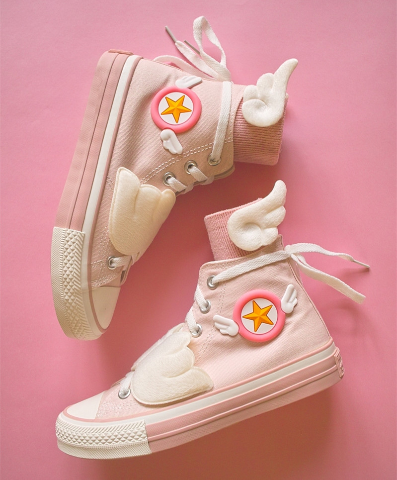 Cardcaptor Sakura fille magique KINOMOTO SAKURA Cosplay chaussures Anime rose baskets mignonnes avec chaussettes