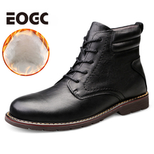Natural Cow Leather Men Winter Shoes Warmest Genuine Handmade Snow Boots size 38-47 winter men boots