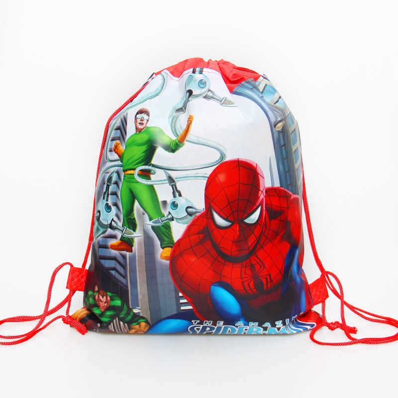 1pcs/lot Baby Shower Non-Woven Fabric Birthday Party Gift Bag Spiderman Drawstring Backpack For Boy Kids Favors Child Gifts Bags