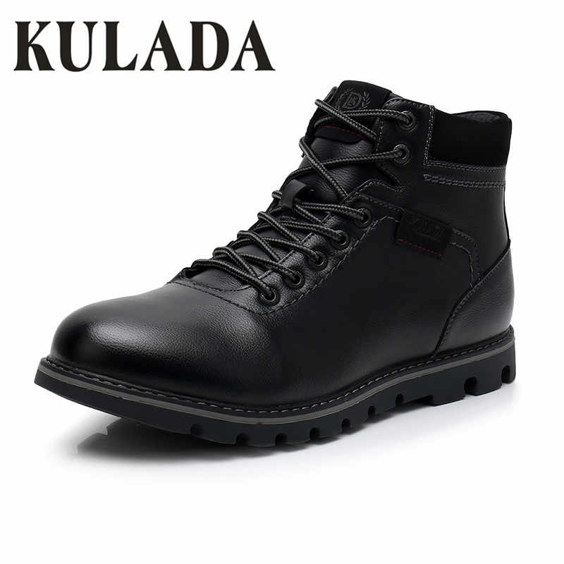 KULADA Laarzen Mannen Super Warm Hoge Kwaliteit Winter Lederen Schoenen Leisure Slip Laarzen Retro Mannen Lace Up Sneaker Casual Schoenen