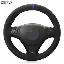 DIY siyah süet deri mavi işaretleyici araba direksiyon kılıfı BMW M spor M3 E90 E91 E92 E93 E87 E81 E82 e88 X1 E84 parçaları