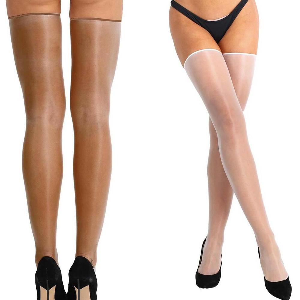 Sexy Women Sheer Oil Shine Thigh High Silk Long Stockings 10D Stay Up Glossy Wet Look Hosiery Thigh-Highs