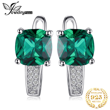Hoop-Earrings Jewelry Nano-Emerald Jpalace Gemstones Silver Women for Korean Fashion