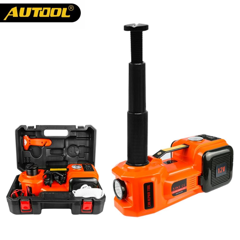 5T Hydraulic Car Jack Auto Electrical Lifting Car Jacks 12V 5 Ton Tire Inflator Pump Jacks Floor Jack 3 In 1 Sets With Hammer