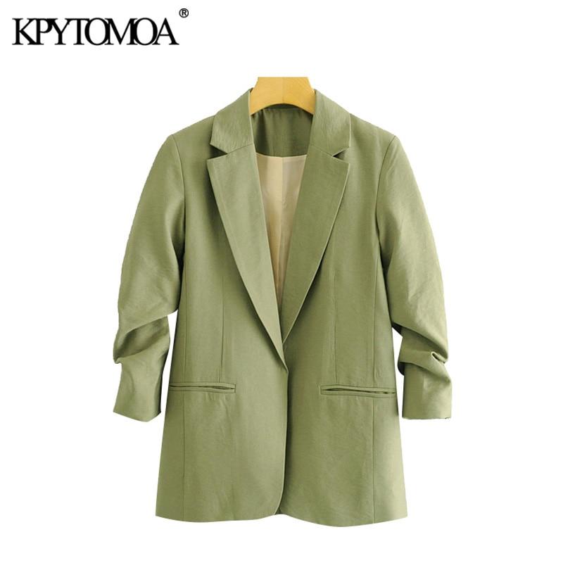 KPYTOMOA Women 2020 Fashion Office Wear Pockets Blazer Coat Vintage Pleated Three Quarter Sleeve Female Outerwear Chic Tops