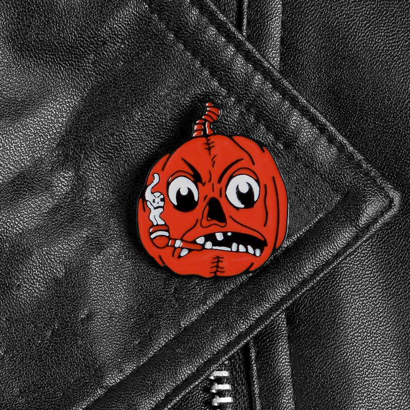 Merah Labu Pin Halloween Lencana Lucu Merokok Labu Bros Jaket Kemeja Tas Kerah Pin Bros untuk Anak-anak Aksesoris