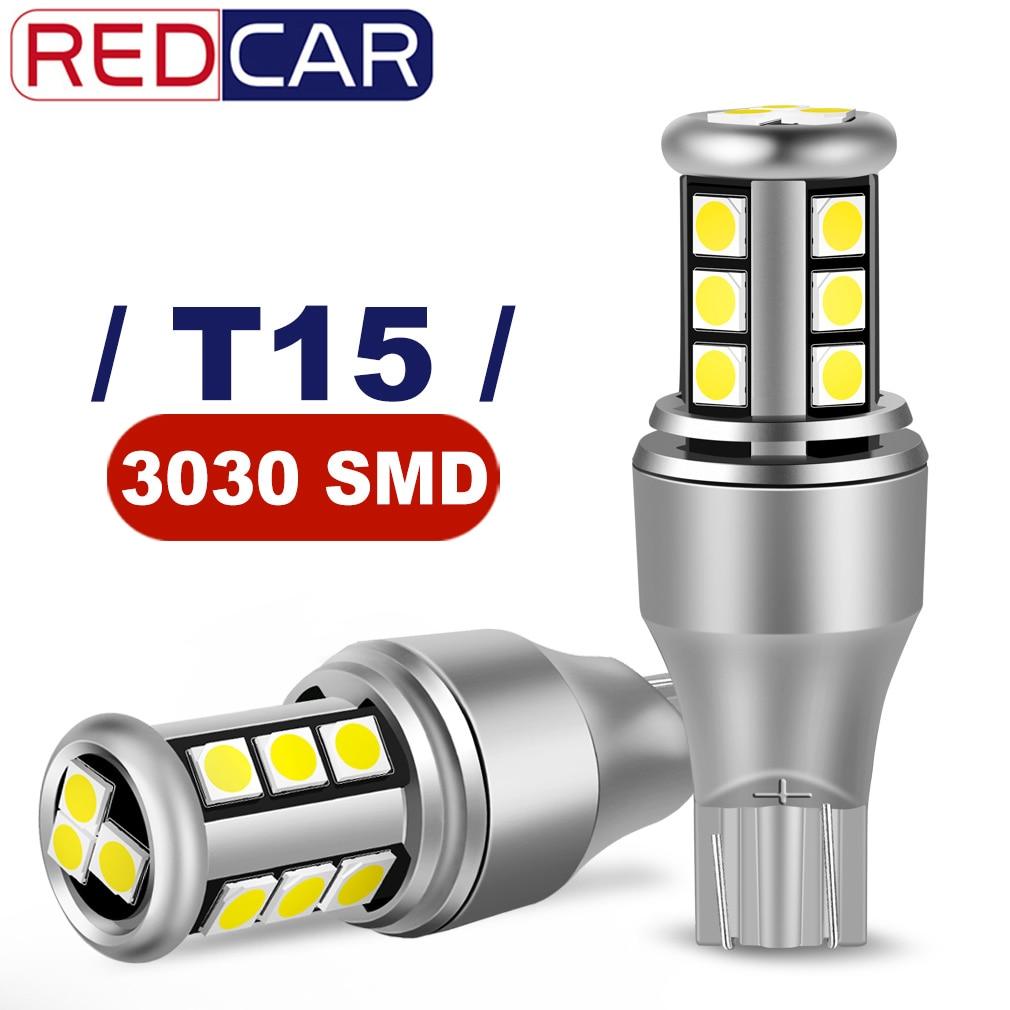 2Pcs W16W LED T15 LED Bulb T16 921 912 LED Bulbs Car Signal Light Canbus Error Free Backup Reverse High Power White DC 12V Stop