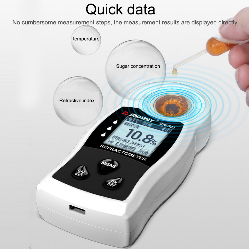 LCD Digital Sugar Sweetness Meter Refractometer Brix Saccharimeter Densimeter for Fruit Beverage Food Sugar Concentration Tester