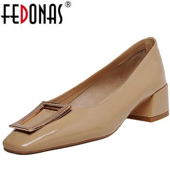 FEDONAS  Women Microfiber Single Shoes Pumps Square Toe Metal Decoration Thick Heels Summer Basic Shoes Sweet Shoes Woman